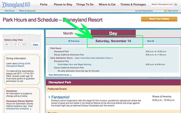 Disneyland show schedule example