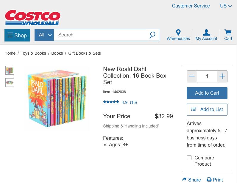 Costco.com 上面賣的 Roald Dahl Collection (16 本) 只要 $32.99